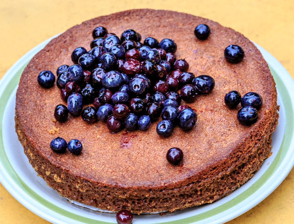 Pastry chef Pamela Moxley's Hazelnut Cake with Blueberries