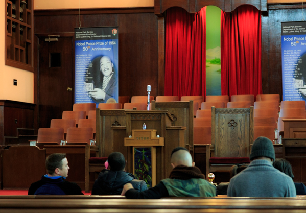The sanctuary of Ebenezer Baptist Church