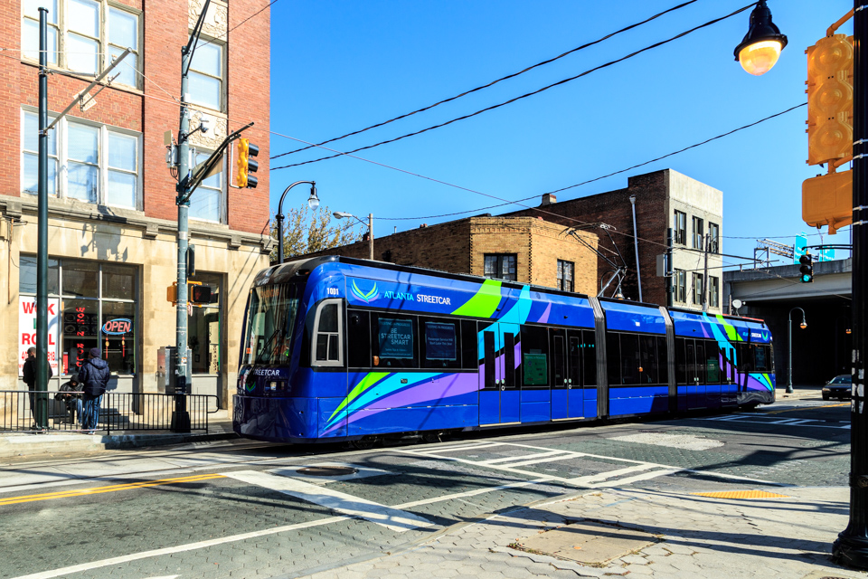 The Atlanta Streetcar glides down Auburn Ave.